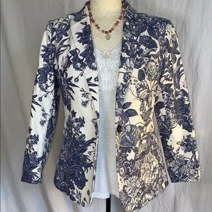 Ann Taylor LOFT blue & white French Toile blazer 4